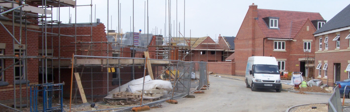 It is the developer who decides where the boundaries around each new house will be, Newark, 2005.