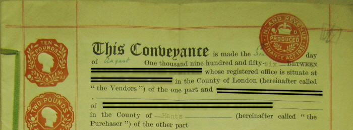 Picture of the first paragraph of a Conveyance Deed