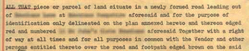 example of a parcels-clause, this one includes the grant of a private right of way