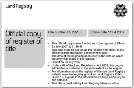 header panel of fictitious title register
